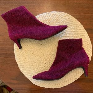 Sparkly purple booties